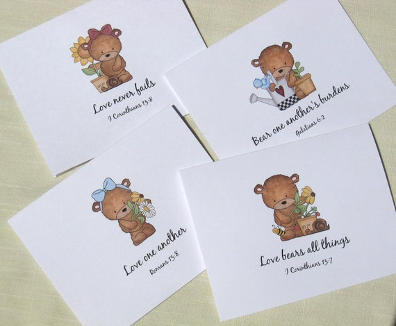 Bear Note Card Set - Christian Note Cards - Set of 8 Cards with Scripture