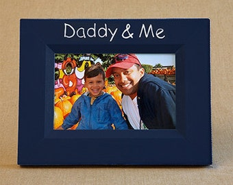 daddy & me picture frame hand painted in navy with white lettering