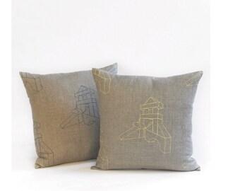 building blocks pillow case - turquoise