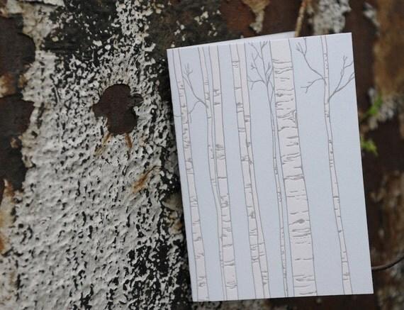 birch tree letterpressed card