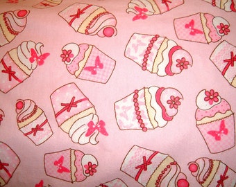 SALE          ----------       Cupcake/Birthday Flannel Pillowcase