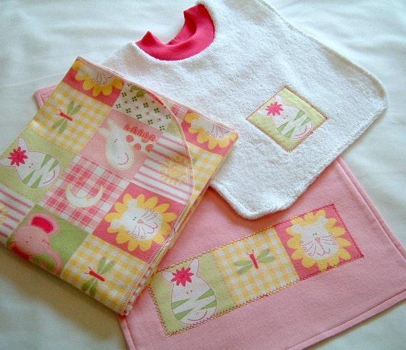 Baby Girl Flannel Receiving Blanket, Bib and Burp Cloth Gift Set