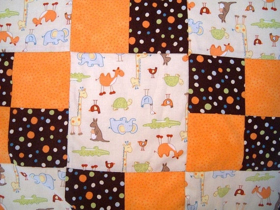 PRICE JUST REDUCED Polka Dot And  Animals Baby Quilt