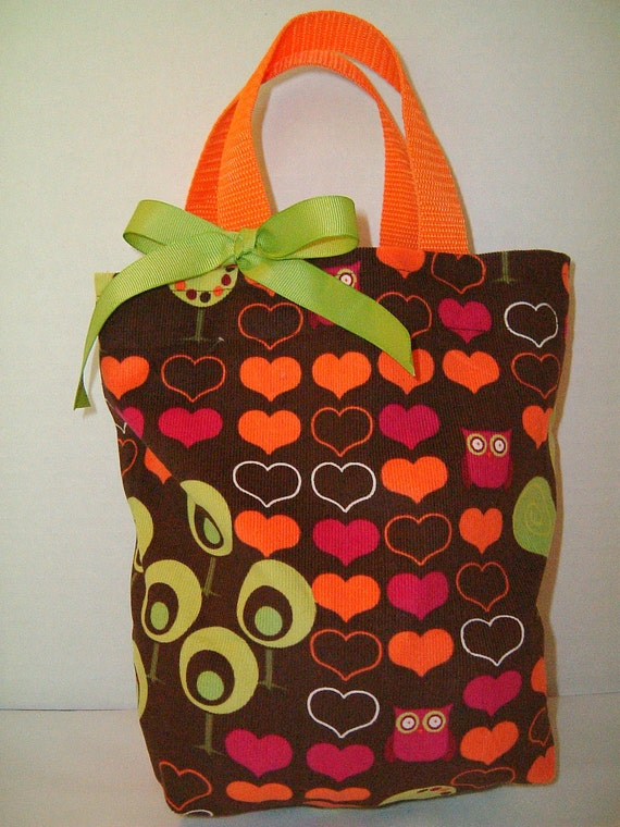 Owls and Hearts Girls Purse/Tote/Gift Bag/Goodie Bag