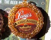 Amber Beer Beaded Bottlecap Necklace Keychain Purse Hook