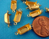 24 Brass Octagon Prong Settings Closed Backs 2 Ring 10x5 connectors