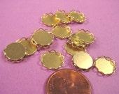 Brass Round Lace Edge Bezel Cups 9mm
