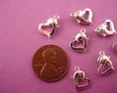 30 silvertone Heart shape spring rings 10mm
