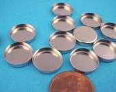 16 Silver  tone Round Bezel Cups 13mm High Wall