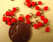 24 vintage glass red baroque bead drops charms loops