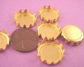 10 Brass Round Crown Edge Bezel Cups 15mm settings