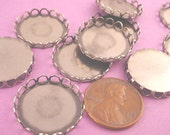 Silver Ox Round Lace Edge Bezel Cups 20mm