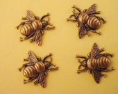 4 brass ox bee bumblebee stampings 17mm