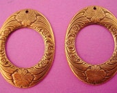 3 brass ox art nouveau floral hoop charms 37mm