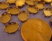 24 Brass Ox Oval Lace Edge Bezel Cups 8x6