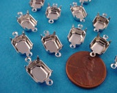 18 Silver tone Octagon Prong Settings Connectors 10x8 closed back