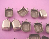 18 antique Silver Ox Octagon Pronged Settings 12x10 1 Ring closed back