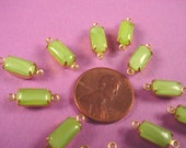 6 Vintage Lime Green Moonstone glass Octagon Connectors 10x5