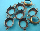 14 Brass Ox Oval Prong Settings 14x10 Open Back 2 Rings Connectors