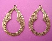 6 brass ox Arabian Gypsy  style key hole cut out charms 27mm