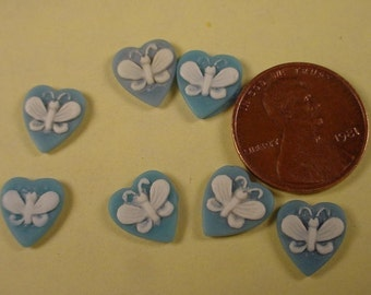 12 heart shaped  butterfly cameos 10x9