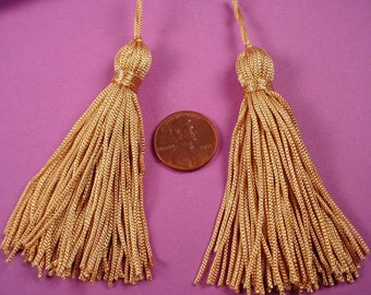 4 vintage light matte gold tone fabric tassels