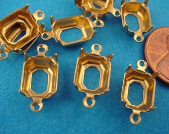 24 Brass Octagon Pronged Setting Open Backs 2 Rings 10x8
