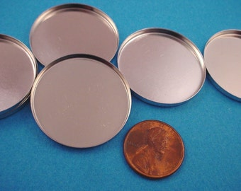 6 Silver tone Round Bezel Cups 30mm High Wall