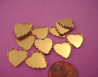 18 Brass Heart Lace Edge Bezel Settings 13mm
