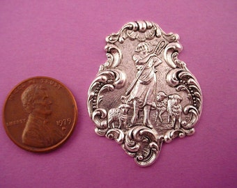 1 silver ox rococo shepard and lambs stamping