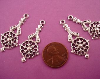 4 silver ox nouveau heraldic open cut charms loop