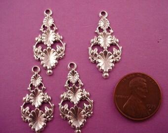 6 silver ox triple pod  art nouveau floral charms open cut