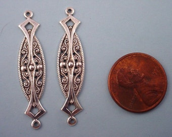 6 silver ox  plated filigree oblong connectors