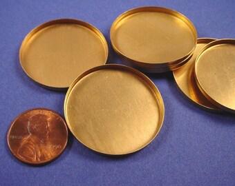 6 Brass Round Bezel Cups 30mm High wall