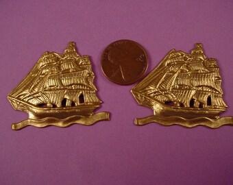 2 brass schooner ship on ocean water stampings