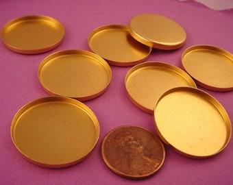 8 Brass Round Bezel Cups 25mm High Wall