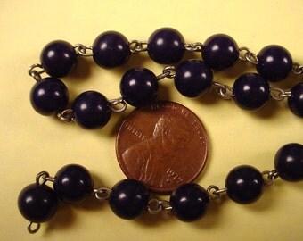 3 feet dark blue bead link chain 7mm
