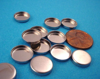 16 Silver  tone Round Bezel Cups 11mm High Wall