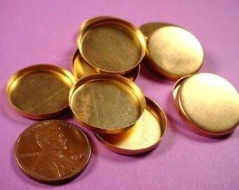 12 Brass Round Bezel Cups 20mm High Wall