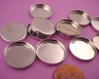 10 Silver tone Round Bezel Cups 20mm High Wall