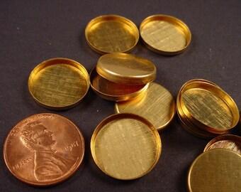 18 Brass Round Bezel Cups 15mm High Wall bezels
