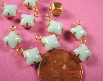 8 Vintage Light Blue Calcedon Glass Square Drops 6x6