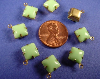 6 Vintage Lime Green Square  Drop Charms 8x8