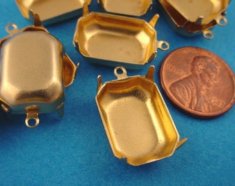 18 Brass Octagon Prong Settings Closed Back 1 Ring 18x13