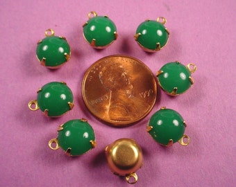 6 Vintage  green Jade Japanese Glass Stone Drop Charms 8mm