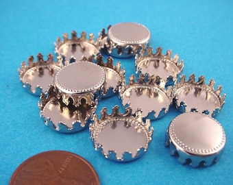 12 Silver tone Round Crown Edge Bezel Cups 13mm