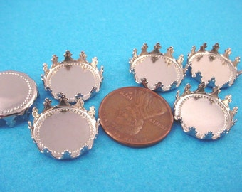 8 Silver tone Round Crown Edge Bezel Cups 15mm