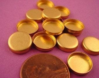 24 Brass Round Bezel Cups Settings 10mm High Wall