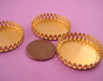 4 Brass Round Crown Edge Bezel Cups 28mm