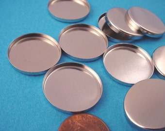 8 Silver tone Round Bezel Cups 22mm High Wall